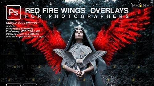 Red Fire wings overlay & Halloween overlay, Photoshop overlay - 1447883