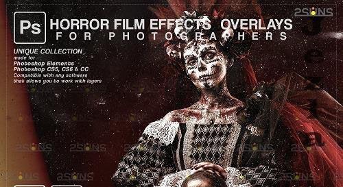Horror effects, Film Grain Textures, Scratch Photo Overlays V3 - 1447900