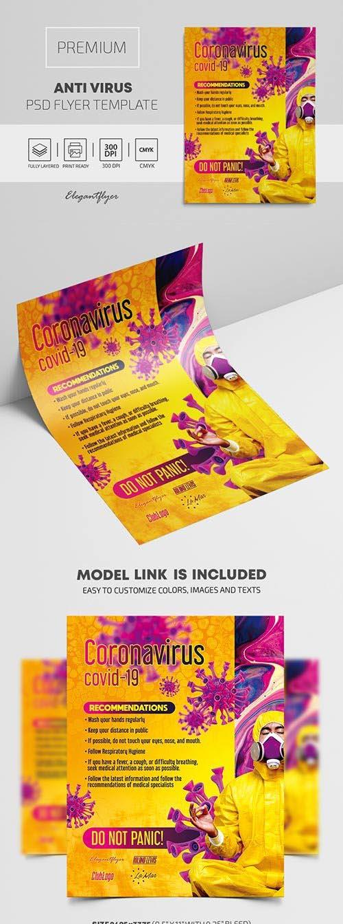 Coronavirus Recommendations Premium PSD Flyer Template