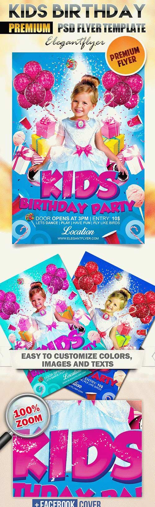 Kids Birthday Party Flyer PSD Template