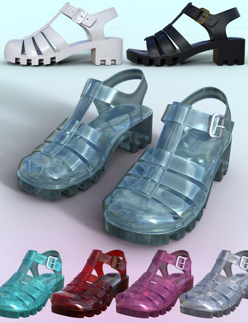 90's Jelly Sandals for Genesis 8 Females