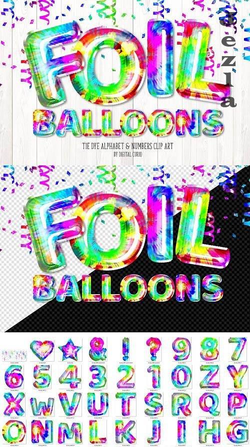 Tie Dye Foil Alphabet Balloons Clipart - 6506920