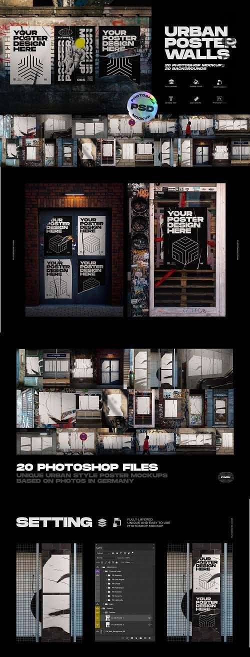 Urban Poster Wall Mockups - 5013944
