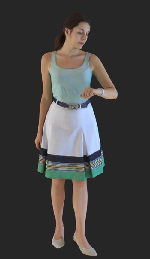 Casual Woman Checking Time 3d model
