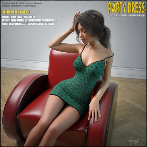 dForce Party Dress for Genesis 8 and 8.1
