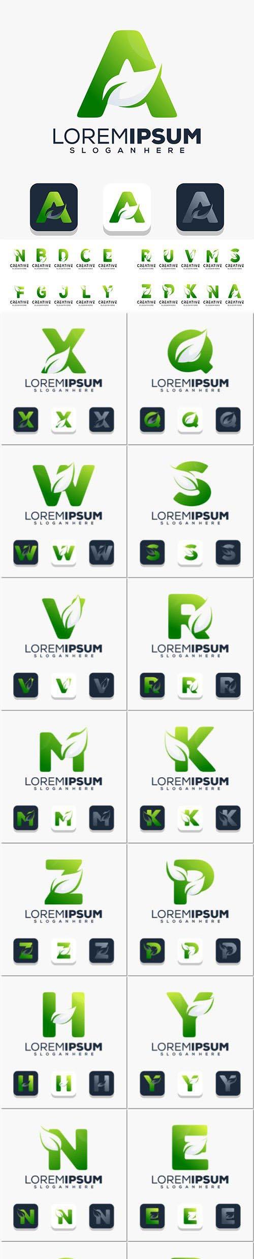 Modern initial letter with leaf logo design Premium Vector