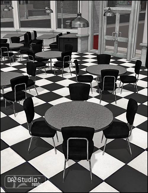 Moonlit Moonshine's Diner Interior Noir