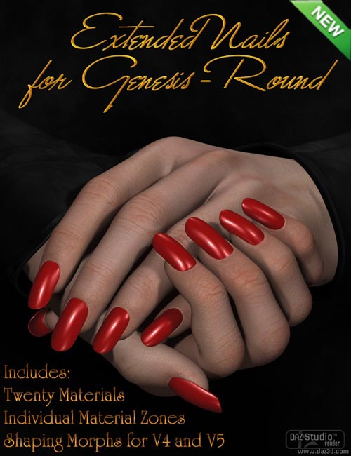 Extended Nails for Genesis - Round