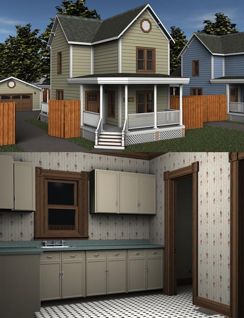 Updated! Modern Home 1 (Poser & DS)