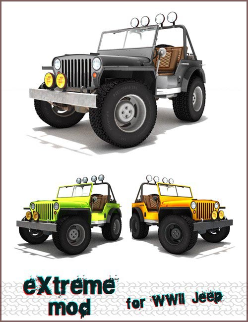 Extreme mod for WWII Jeep [ .DUF & Iray UPDATE ]