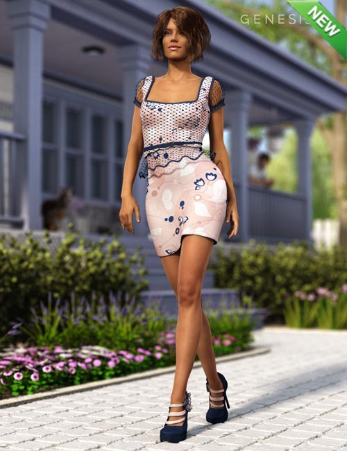 Peplum Dress and Blossom Shoes for Genesis 2 Female(s)