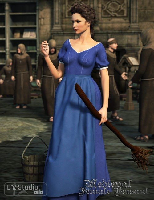 Medieval Female Peasant Clothing for Genesis