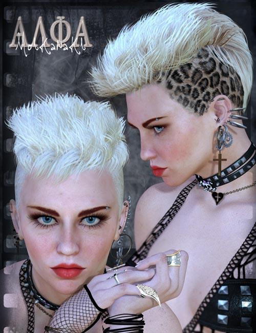 SAV Alpha Moikanaki Hair, Addon For Alpha Scalp