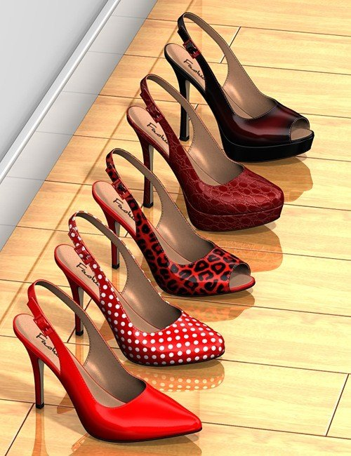 Five pairs of sling-back pumps