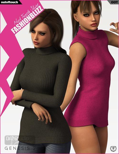 Fashion Blizz - Mock Turtle Neck for Genesis 2 Female(s)