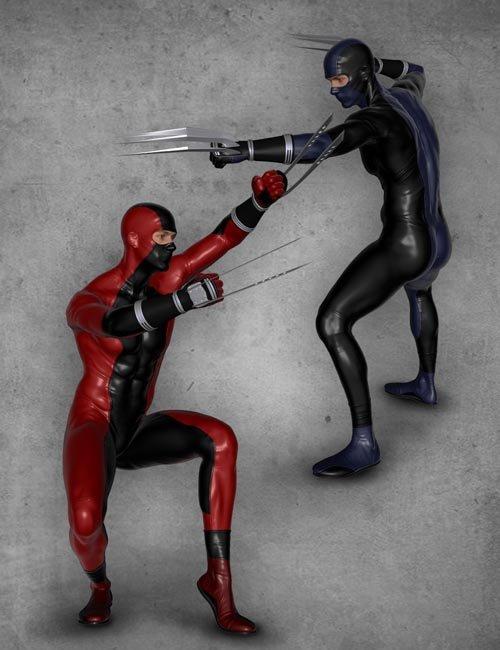 Modern Ninja Blades Poses for Genesis 2 Male(s)