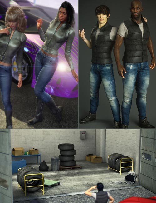 Garage Hangout and Outfits (converted from Genesis 2) for Genesis 8