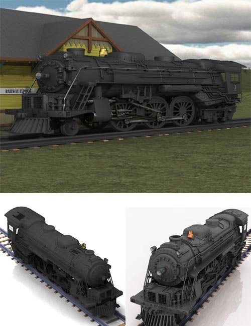 Steam Locomotive 2-6-4 (for Poser) [. Duf and iray update ]