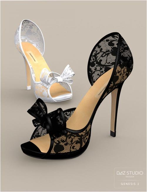 Cute3D Bow Heels for Genesis 2 Female(s)