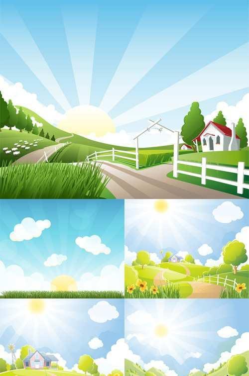Vector Set - 5 Farm Illustrations