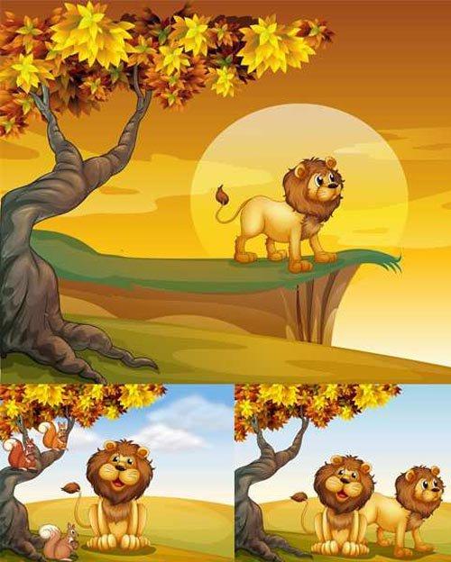 Vector Set - 5 Beautiful Lion Illustrations