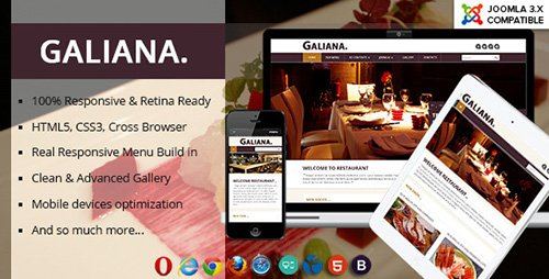 ThemeForest - Galiana v1.0.1 - Responsive Restaurant Joomla 3.x Template