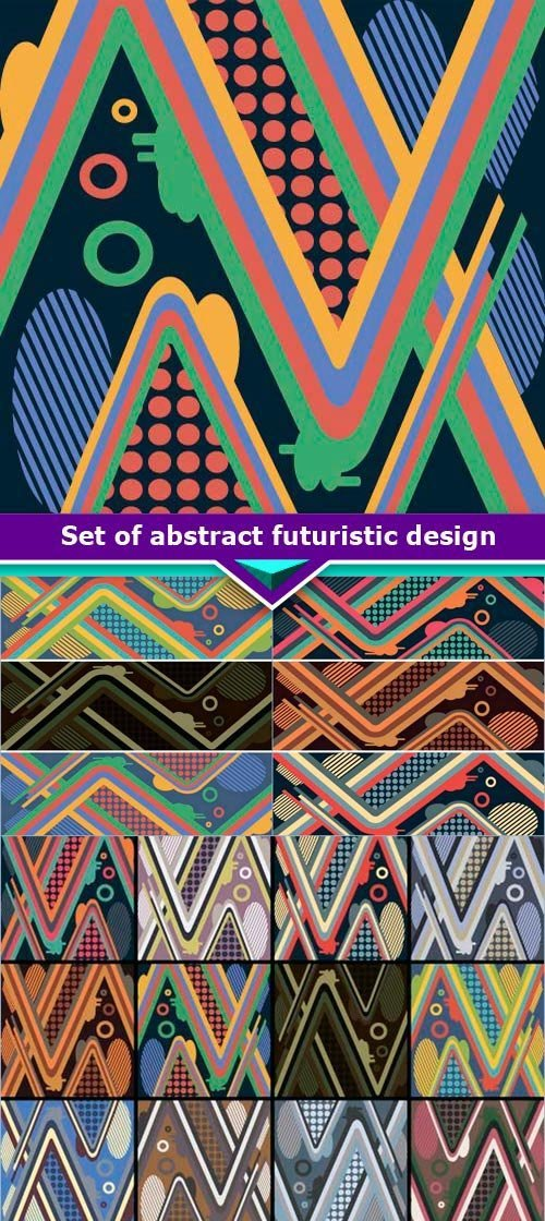 Set of abstract futuristic design for a modern skateboard 6x EPS