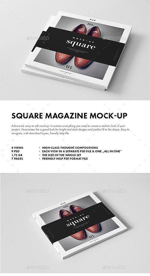 GraphicRiver - Square Magazine / Brochure Mock-up 9877732