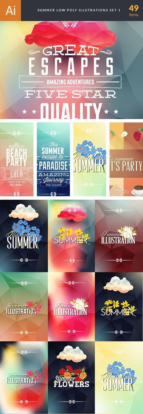 49 Summer Low Poly Vector Illustrations Bundle