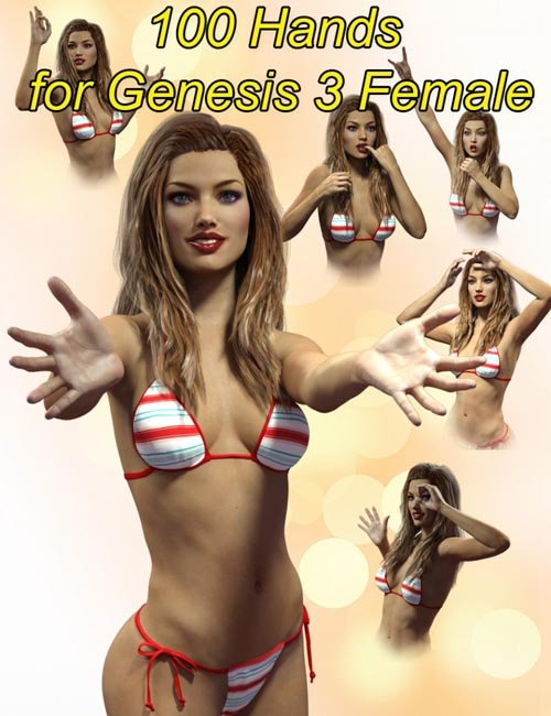 Slide3D 100 Hands for Genesis 3 Female(s)