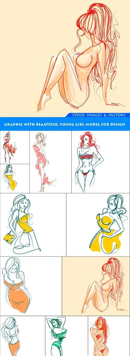 Graphic with beautiful young girl model for design 11X EPS