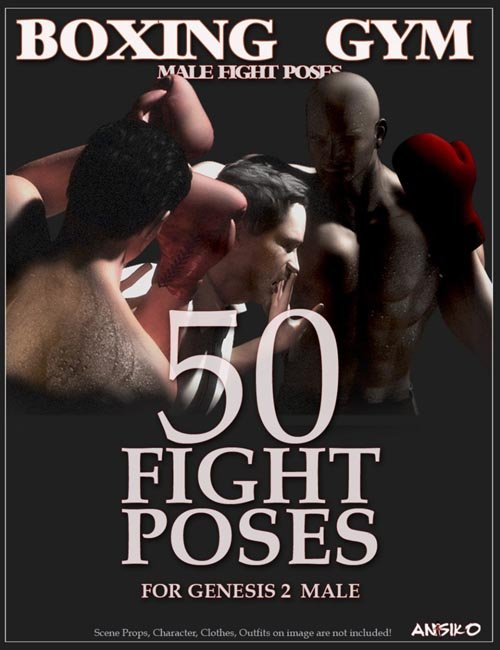 Boxing Gym Male Fight Poses