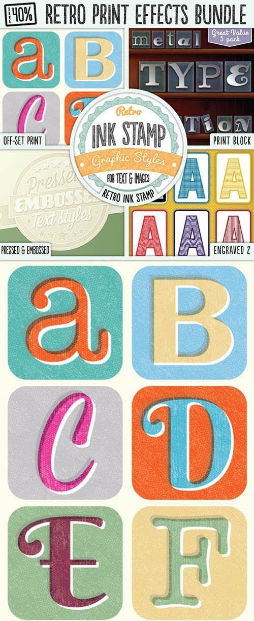 Graphicriver - Retro Print Text Effects Bundle 8375772