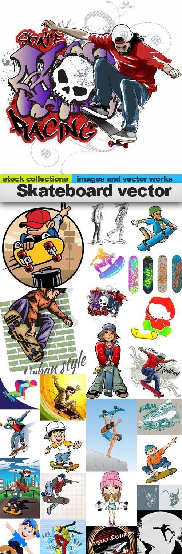 Skateboard vector,25 x EPS