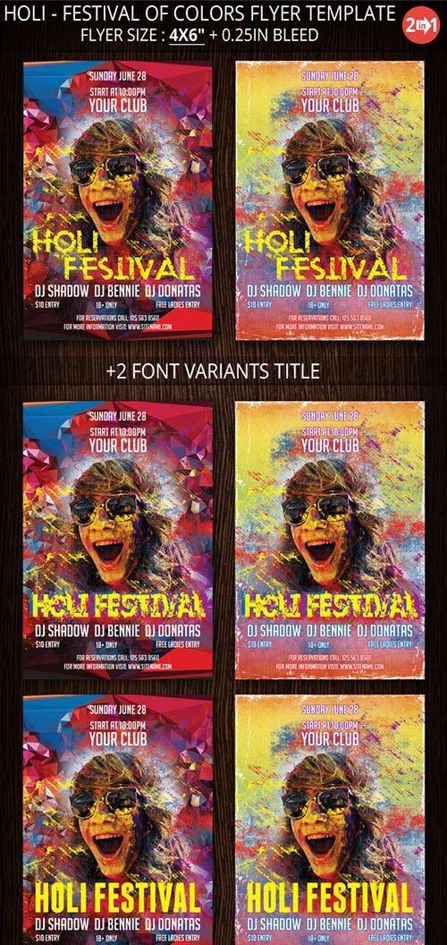 CreativeMarket Holi - Festival Of Colors Flyer