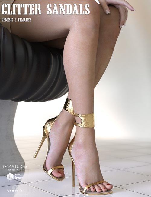 Glitter Sandals for Genesis 3 Females