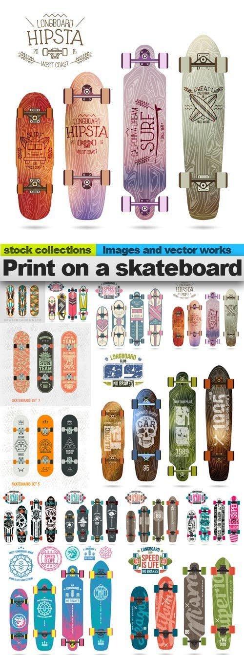 Print on a skateboard, 15 x EPS