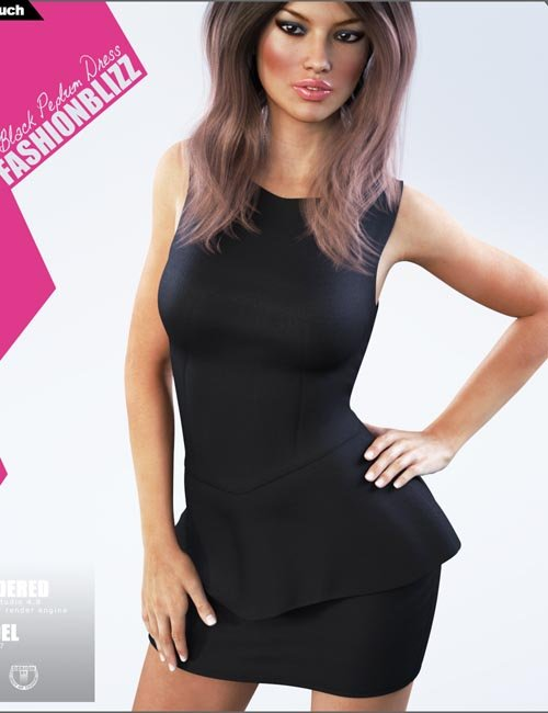 Black Peplum Dress for Genesis 3 Female(s)