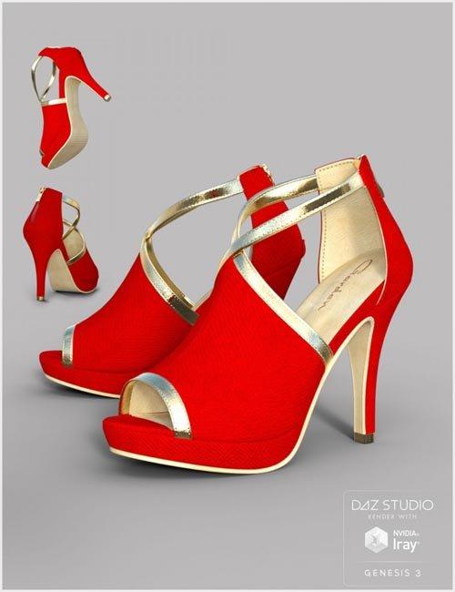 Black Gold Heels for Genesis 3 Female(s)