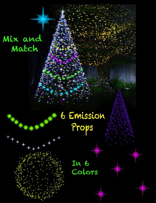 Christmas and Fairy star lights for Daz Iray (emissive light props)