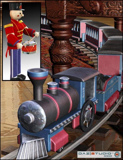Toy Soldier and Train Set