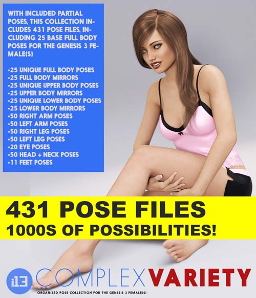 i13 Complex Variety Pose Collection for the Genesis 3 Female(s)