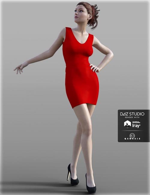 Short Tight Dress for Genesis 3 Female(s)