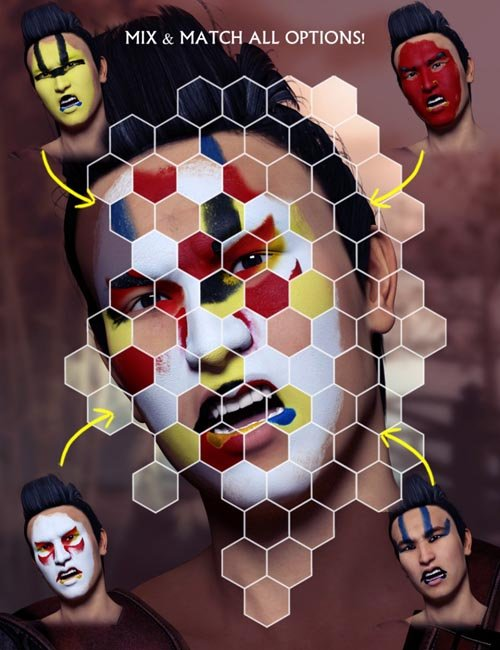 Extreme Closeup: Kabuki Inspired Face Paints for Genesis 3 Male(s)