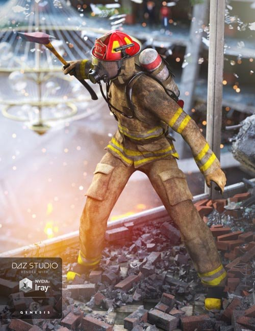 Firefighter Uniform for Genesis 3 Male(s) and Genesis 2 Male(s)