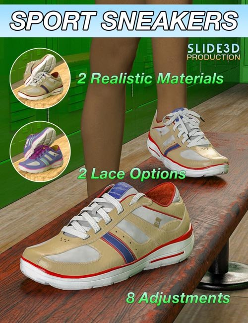Slide3D Sport Sneakers for Genesis 3 Female(s)