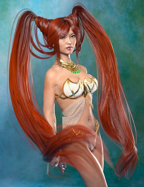 Jade Tiger Hair for Genesis 3 Female(s)