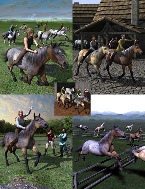 Walking, Trotting, Cantering, Galloping, and Jumping Actions Bundle