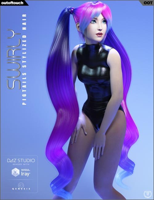Swirly Pigtails Stylized Hair for Genesis 3 Female(s)