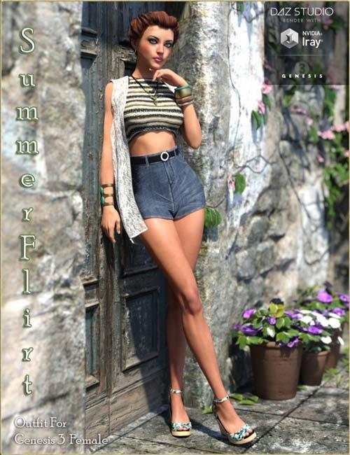 Summer Flirt Outfit for Genesis 3 Female(s)